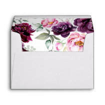 Plum Purple Floral Bohemian Watercolors Wedding Envelope