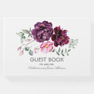 Plum Purple Floral Bouquet Watercolor Wedding Guest Book
