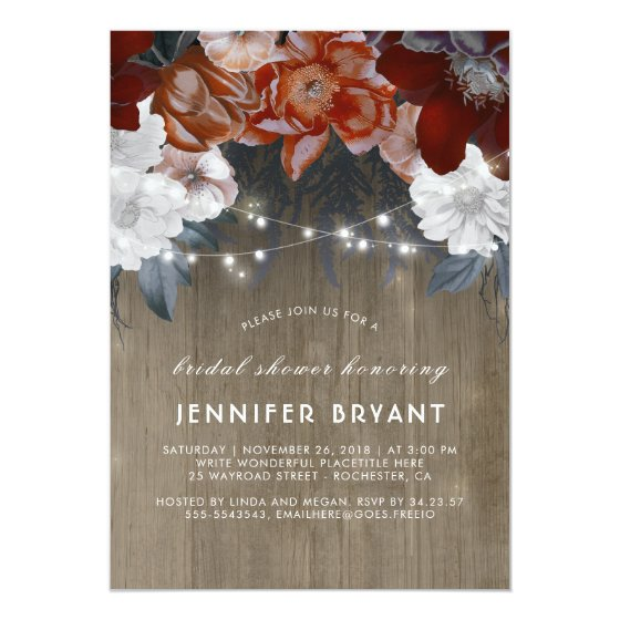 Plum Purple Floral Lights Rustic Bridal Shower Card