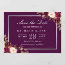 Plum Purple Floral Silver Gray Save the Date