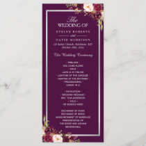 Plum Purple Floral Silver Gray Wedding Program