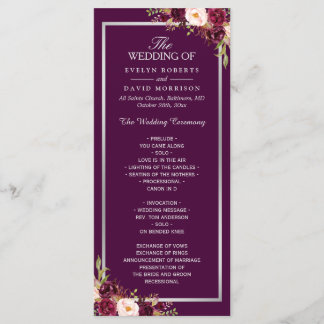 Plum Purple Floral Silver Gray Wedding Program