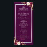 """Plum Purple Floral Silver Gray Wedding Program<br><div class=""""desc"""">Customize this &quot;Plum Purple Floral Silver Gray Wedding Program Card&quot; to add a special touch. It&#39;s easy to personalize to match your wedding colors, styles and theme. (1) For further customization, please click the &quot;customize further&quot; link and use our design tool to modify this template. The background color is changeable....</div>"""