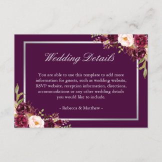 Plum Purple Floral Silver Grey Wedding Details Enclosure Card