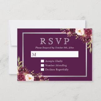 Plum Purple Floral Silver Grey Wedding RSVP