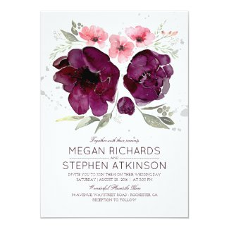 Plum Purple Floral - Violet Watercolor Wedding Card