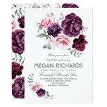 Plum Purple Floral Watercolor Boho Bridal Shower Card at Zazzle