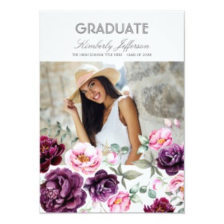Plum Purple Floral Watercolor Photo Graduation Card