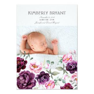 Plum Purple Floral Watercolor Sweet Baby Birth Card