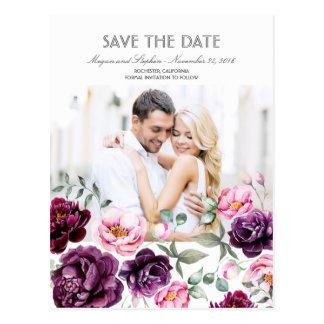 Plum Purple Floral Watercolors Photo Save the Date Postcard