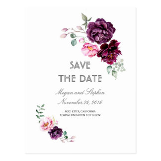 Plum Purple Floral Watercolors Save the Date Postcard
