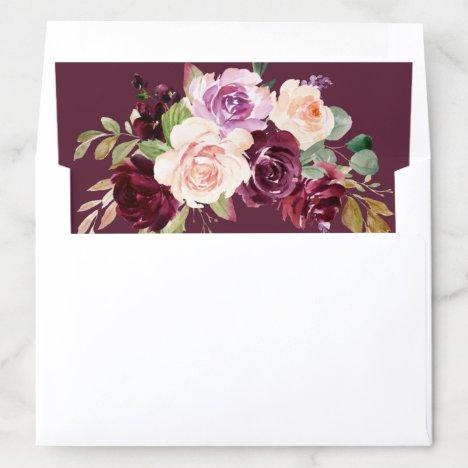 plum purple floral wedding envelope liner