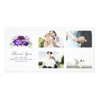 Plum Purple Floral Wedding Thank You Card