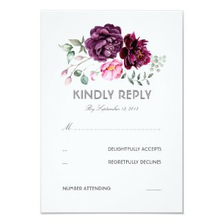 Purple Watercolor Bohemian Wedding RSVP Cards