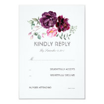 Plum Purple Flowers Watercolor Wedding RSVP Card