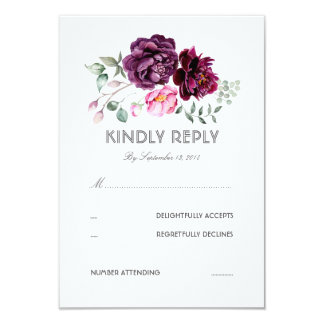 plum purple flowers watercolor wedding rsvp card - Watercolor Wedding Invitations