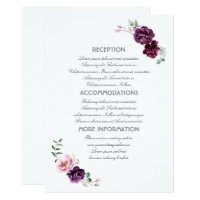 Plum Purple Flowers Wedding Information Guest Card