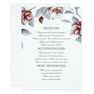 Plum Purple Flowers Wedding Information Guest Card