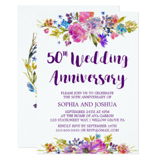 Plum Purple Garden 50th Wedding Anniversary Party Card