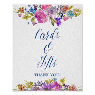 Plum Purple Garden Cards & Gifts Wedding Sign Poster