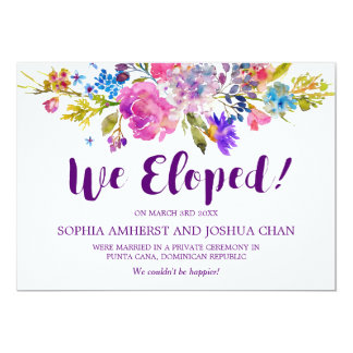 Plum Purple Garden Elopement Announcement Cards
