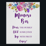 "Plum Purple Garden Mimosa Bar Sign<br><div class=""desc"">This plum purple garden mimosa sign is perfect for a floral theme wedding or bridal shower. The design features bright magenta,  pink,  plum purple and blue flowers,  and a lovely bold script font.</div>"