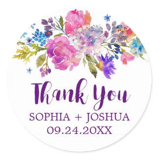 Plum Purple Garden Thank You Wedding Favor Sticker
