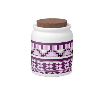 Plum Purple Geometric Aztec Tribal Print Pattern Candy Jars