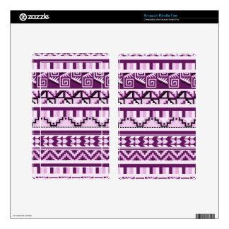Plum Purple Geometric Aztec Tribal Print Pattern Kindle Fire Skin