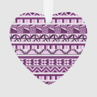 Plum Purple Geometric Aztec Tribal Print Pattern Ornament