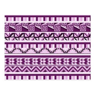 Plum Purple Geometric Aztec Tribal Print Pattern Postcard