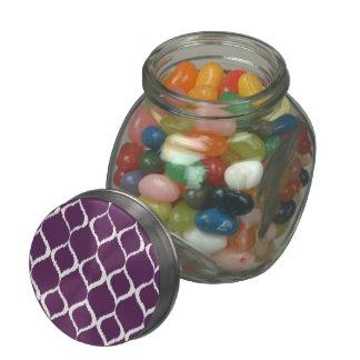 Plum Purple Geometric Ikat Tribal Print Pattern Jelly Belly Candy Jars
