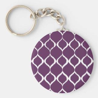 Plum Purple Geometric Ikat Tribal Print Pattern Keychain