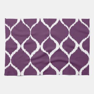 Plum Purple Geometric Ikat Tribal Print Pattern Kitchen Towel