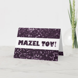 Plum Purple Glitter Mazel Tov Congratulations Card