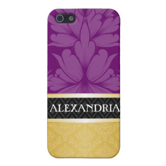 Plum Purple & Gold Customized Damask iPhone 4 Case