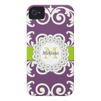 Plum Purple Green Swirls Floral iPhone 4 Case-Mate