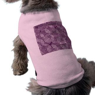 Plum Purple Ikat Overlap Circles Geometric Pattern Doggie Tee Shirt
