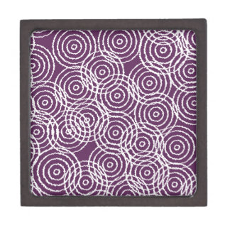 Plum Purple Ikat Overlap Circles Geometric Pattern Premium Jewelry Boxes