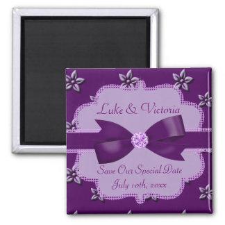 Plum Purple Island Flowers & Rhinestones Wedding 2 Inch Square Magnet