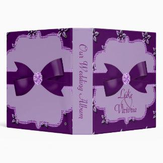 Plum Purple Island Flowers & Rhinestones Wedding Binder