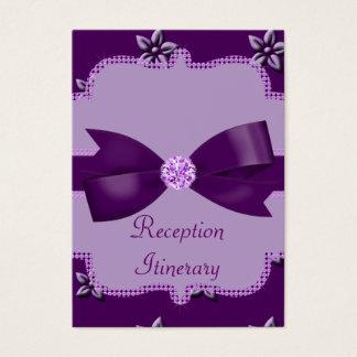Plum Purple Island Flowers & Rhinestones Wedding Business Card