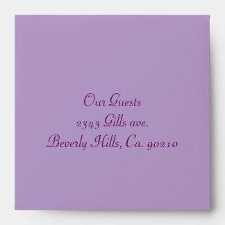 Plum Purple Island Flowers & Rhinestones Wedding Envelope
