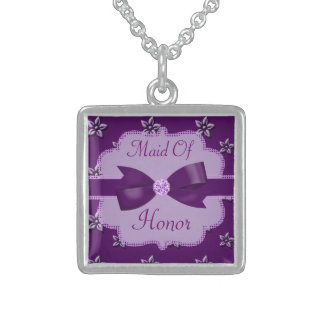 Plum Purple Island Flowers & Rhinestones Wedding Sterling Silver Necklace