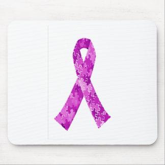 Plum Purple Jigsaw Puzzle Pattern Ribbon Mouse Pad