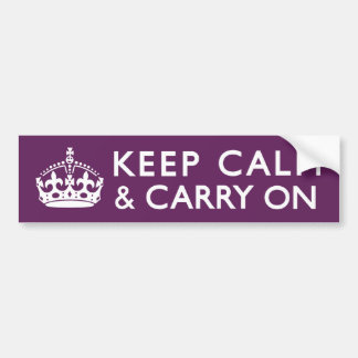 Plum Purple Keep Calm and Carry On Car Bumper Sticker