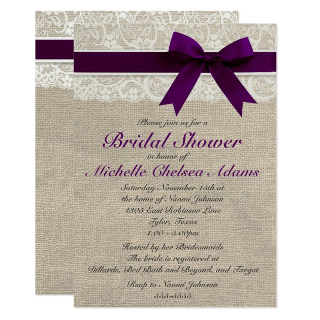 plum purple lace burlap bridal shower invitation  zazzle, Bridal shower invitations