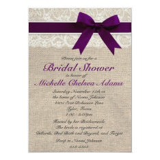 Plum Purple Lace Burlap Bridal Shower Invitation at Zazzle