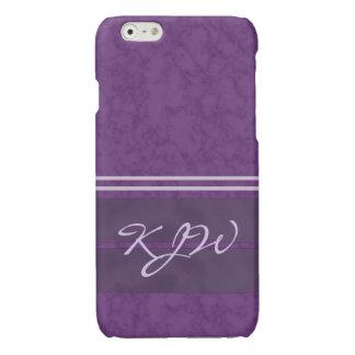 Plum Purple Lavender Stripes Monogram Glossy iPhone 6 Case