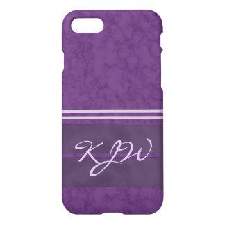 Plum Purple Lavender Stripes Monogram iPhone 7 Case